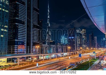 Dubai Dec 20 2019 : View Of  Sheikh Zayed Hwy At Night In Dubai Uae