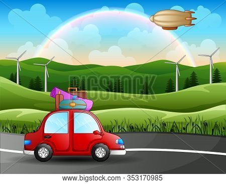 Roadtrip Trip By Car Among The Beautiful Landscape