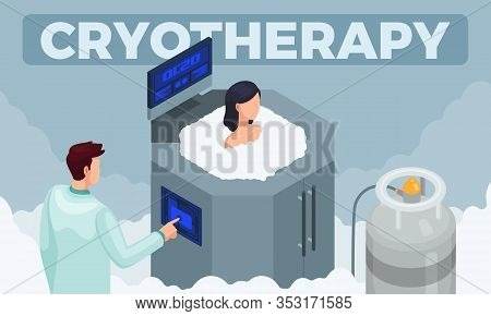 Vector Illustration Of A Modern Medicinal Cryotherapy Procedure