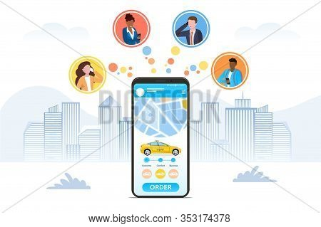 Ordering A Taxi Online Using A Hailing App Depicted On A Mobile Phone Screen With Icons For Four Bus