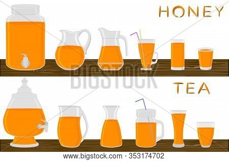 Big Kit Different Types Glassware, Honey Tea In Jugs Various Size. Glassware Consisting Of Organic P