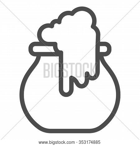 Boiling Cauldron Line Icon. Reeky Witch Pot, Boiled Cattle. Halloween Party Vector Design Concept, O