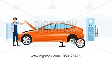 Mechanic Doing A Car Service Changing A Tyre And Working Under The Bonnet Or Hood In A Garage Worksh