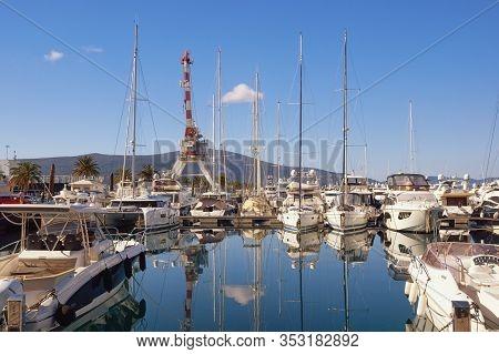 Tivat, Montenegro. 02 16 2020 / View Of Yacht Marina Of Porto Montenegro On Sunny Winter Day.  Monte