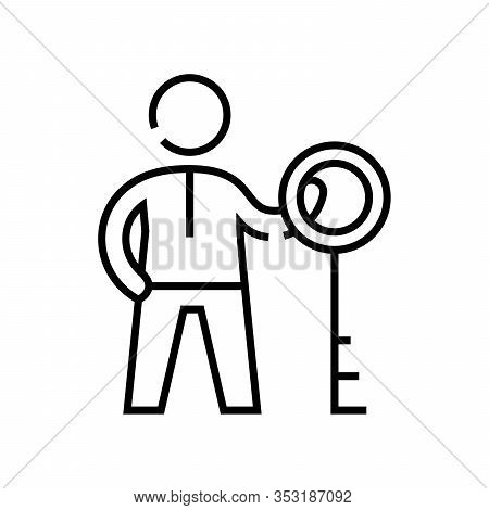 Key Advantage Line Icon, Concept Sign, Outline Vector Illustration, Linear Symbol.