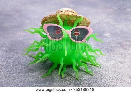 Disguised Tourist Coronavirus. Suspension Of Tourist Trips Concept