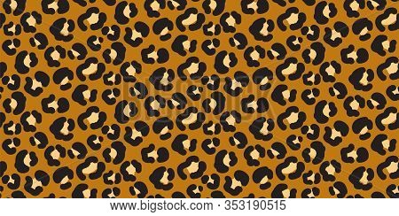 Leopard Wild Print Pattern With Spots And Hearts. Brown Leopard Cheetah Abstract Skin Print.