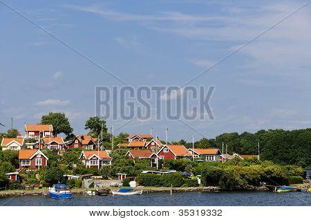 Red Cottages In Brändaholm, Sweden