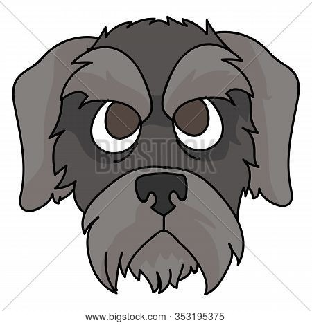 Cute Cartoon Schnauzer Puppy Dog Face Vector Clipart. Pedigree Kennel Doggie Breed For Dog Lovers. P