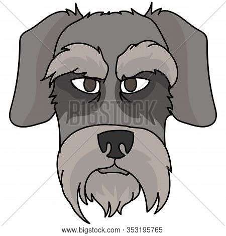 Cute Cartoon Schnauzer Dog Face Vector Clipart. Pedigree Kennel Doggie Puppy Breed For Dog Lovers. P