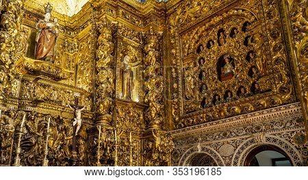 Lisbon - August 30, 2019: Detail Of The Gilded Artwork Inside The Jesuit Church Of Saint Roch, In Ba