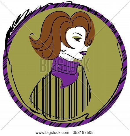 Vintage Woman With Violet Lipstick And Short Wavy Hair In Striped Sweater And Violet Scarf In Dark Y