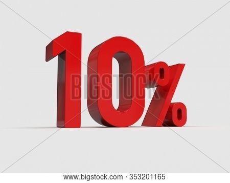 3d Render: Red 10% Percent Discount 3d Sign on White Background, Special Offer 10% Discount Tag, Sale Up to 10 Percent Off, Ten Percent Letters Sale Symbol, Special Offer Label, Sticker, Tag