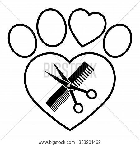 Emblem Animal Grooming With Comb And Scissors In The Shape Of A Dog Paws
