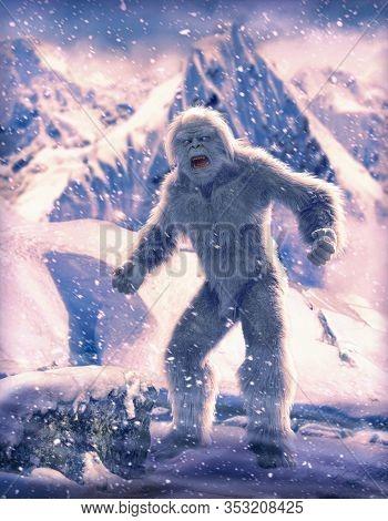 Legendary Yeti, Wild Snowman In The Frozen Himalayan Mountains, 3d Render.