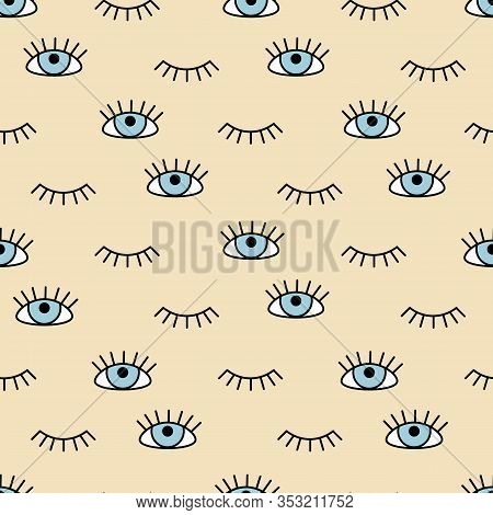 Eye Icons Pattern Flat And Outline Style. Open And Closed Eyes Images, Sleeping Eye Shapes With Eyel