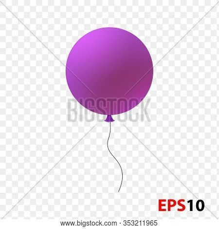 Ballon Realistic Purple Isolated On A Transparent Background.design Element For Celebration, Kids De