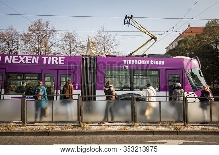 Prague, Czechia - October 31, 2019: Prague Tram, Or Called Prazske Tramvaje, Skoda 14 T Model, On Li