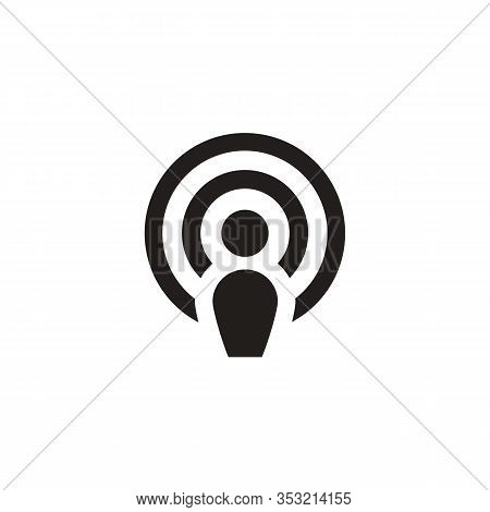 Wifi Location Icons, Wifi Connection Signal Icon With Map Pointer Or Location In The Circle. Vector