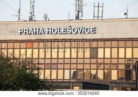 Prague, Czechia - October 31, 2019: Sign Indicating The Praha Holesovice Train Station In Prague, On