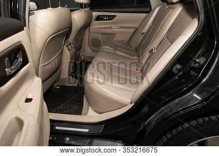 Novosibirsk, Russia - December 29, 2019:  Nissan Teana,  Rear Seat For Passengers In Beige Leather,