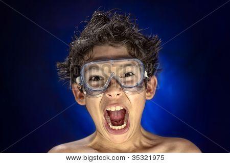 Funny screaming boy