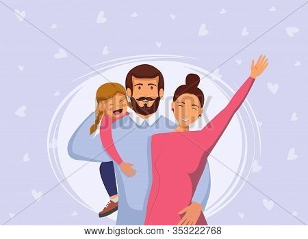 Happy young family. Dad, mom, and son together. Vector illustration in cartoon style. Happy International Mothers Day. Mothers Day. Mothers Day background. Mother\'s  Day poster. Mothers Day illustration.