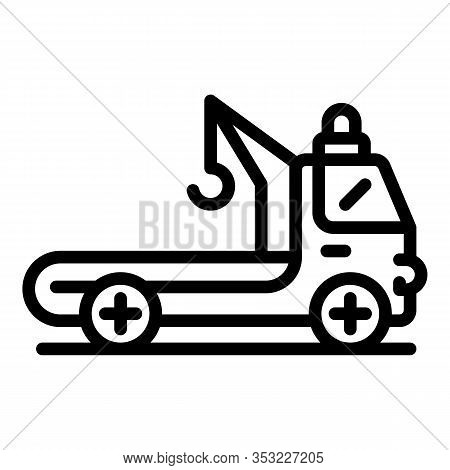 Tow Truck Icon. Outline Tow Truck Vector Icon For Web Design Isolated On White Background