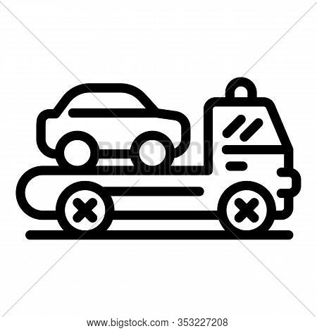 Car Tow Truck Icon. Outline Car Tow Truck Vector Icon For Web Design Isolated On White Background