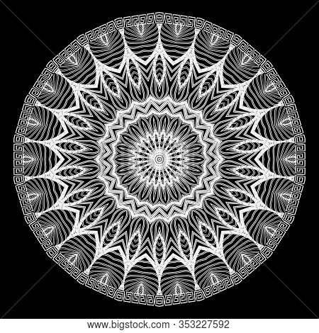 Lace Round Mandala Pattern. Ornamental Black And White Abstract Lines, Shapes, Flowers, Leaves Backg