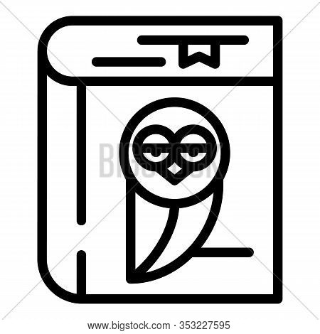 Notepad With Owl Icon. Outline Notepad With Owl Vector Icon For Web Design Isolated On White Backgro