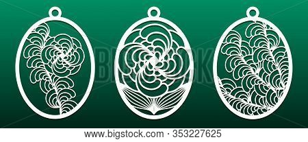 Set Of Templates For Laser Cut. Pendant, Keychain, Decorative Easter Egg Ornate With Abstract Floral