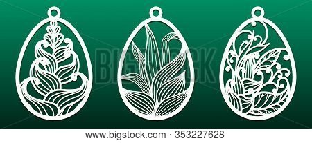 Set Of Templates For Laser Cut. Pendant, Keychain, Decorative Easter Egg Ornate With Floral Pattern.