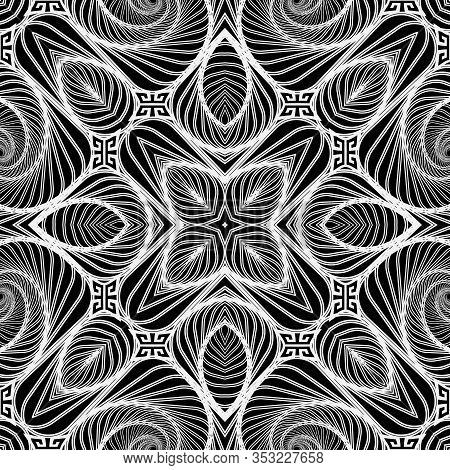 Lines Seamless Pattern. Ornamental Black And White Abstract Lines, Shapes, Flowers Background. Geome