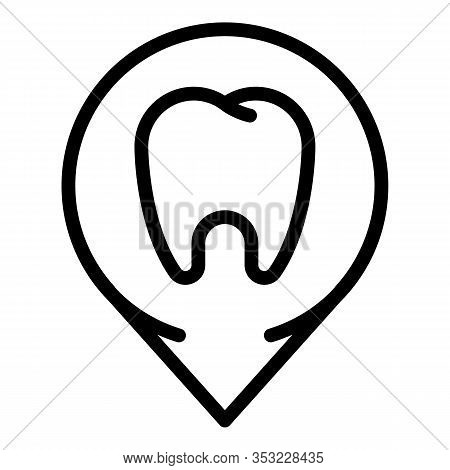 Tooth At Checkpoint Icon. Outline Tooth At Checkpoint Vector Icon For Web Design Isolated On White B