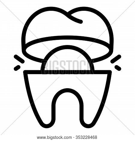 Cutaway Tooth Icon. Outline Cutaway Tooth Vector Icon For Web Design Isolated On White Background