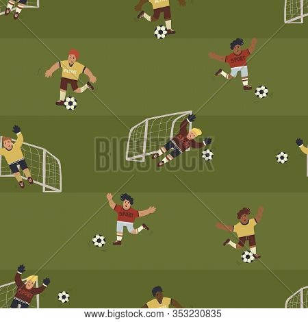 Fun And Dynamic Seamless Pattern With Football Players Running On Pitch. Trendy Hand Drawn Style Wal