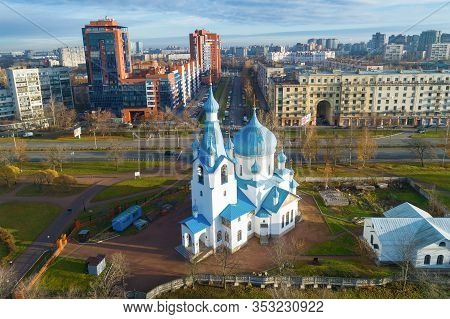 Saint Petersburg, Russia - November 05, 2018: View Of The Church Of The Nativity Of Christ In Pulkov