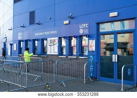 Leicester, England - 12 November 2019: Leicester City Queue Line Matchday Ticket Office Areas Around