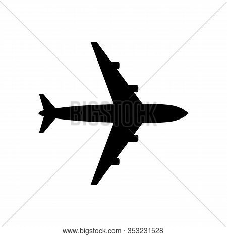 Black Plane Icon Isolated On White Background. Black Plane Icon In Trendy Design Style For Web Site