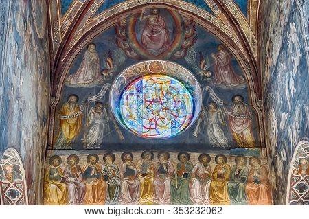 San Gimignano, Italy - June 21: Interior Of The Collegiate Church Of Santa Maria Assunta, Iconic Bas