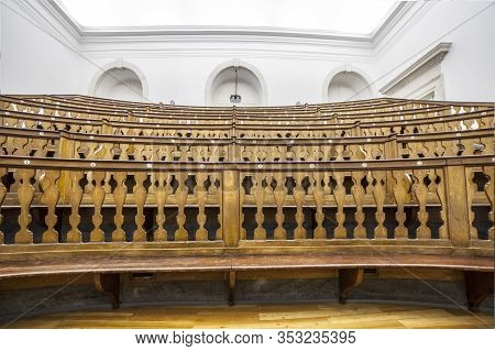 Coimbra, Portugal - Sept 6th 2019: Ancient Lecture Room. Science Museum Of The University Of Coimbra
