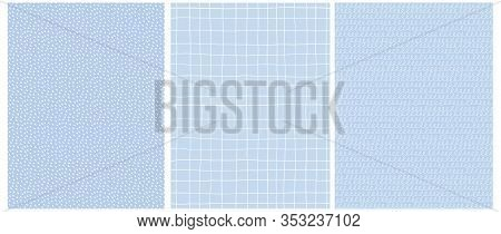 Set Of 3 Hand Drawn Irregular Geometric Vector Patterns.white Horizontal Grid, Dots And Lines With L