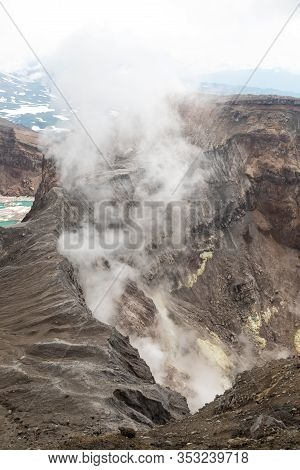 Gorely Volcano, Kamchatka Peninsula, Russia. An active volcano located in the south of Kamchatka. It