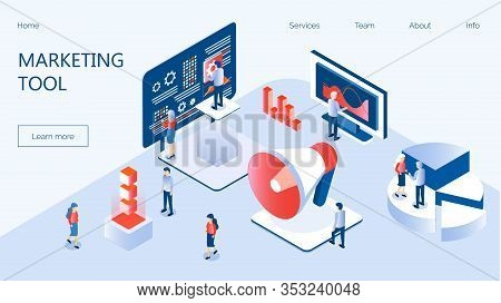 Marketing E-commerce, Data Analysis Tool Isometric Vector For Website. Digital Business Content, Col