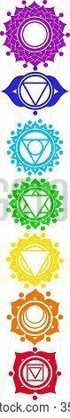 set of icons with chakras on an isolated background. Chakras set: muladhara, swadhisthana, manipura,