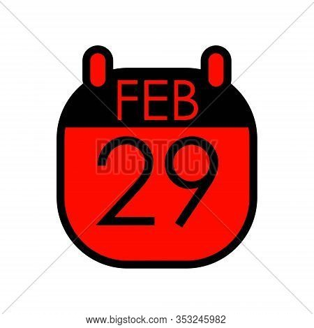 Black Red Calendar February 29 Weight Year, Once Every 4 Years, Date Leap Day Isolated On White Back