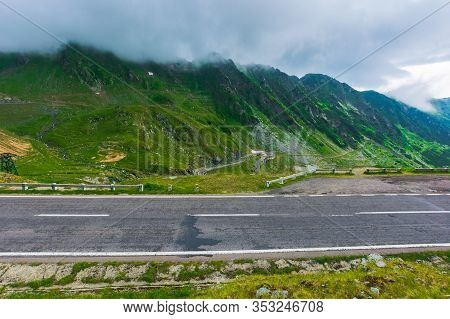 Alpine Road Through Mountain Valley. Epic View Of Transfagarasan Route. Popular Travel Destination.
