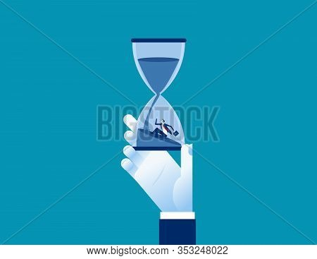 Office People Working Under Pressure For A Long Time. Concept Business Time Vector Illustration, Ris