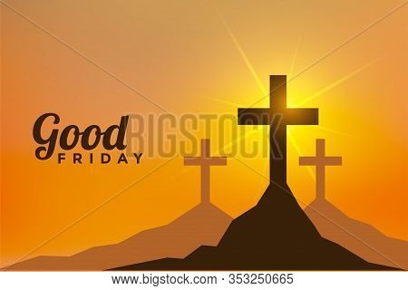 Easter Day And Good Friday Scene With Three Cross